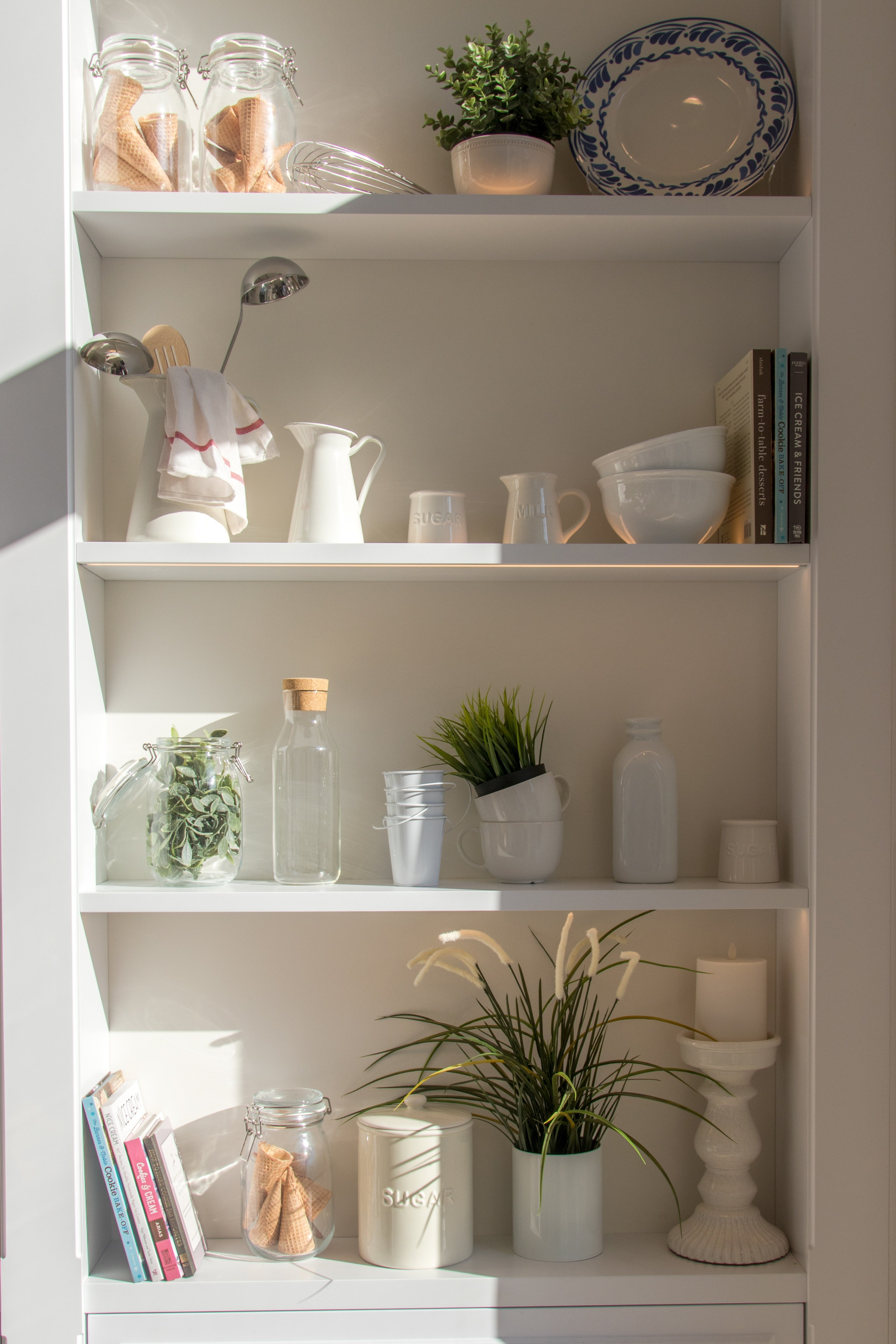 Kitchen shelf with multiple storage containers