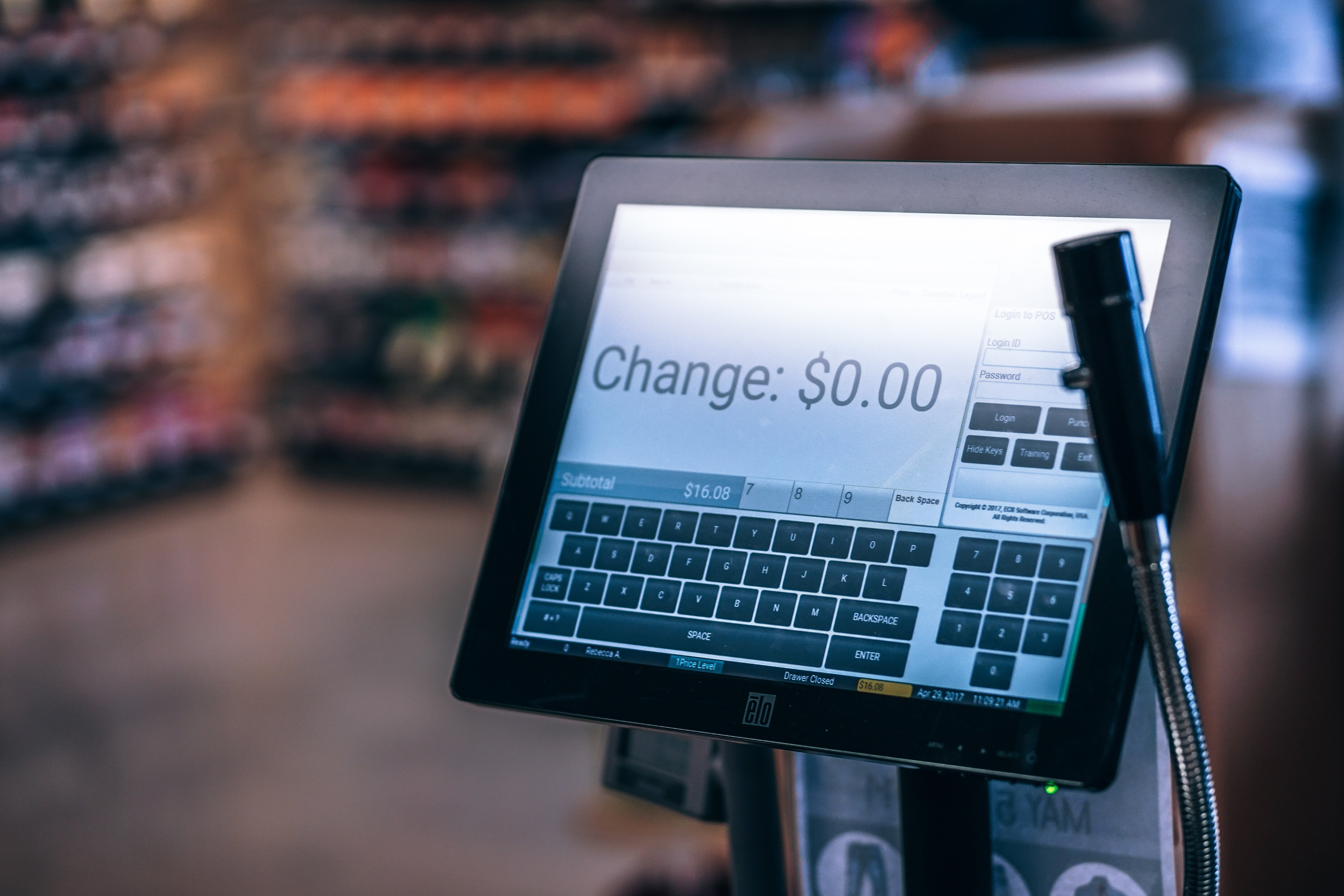 Checkout register in a store