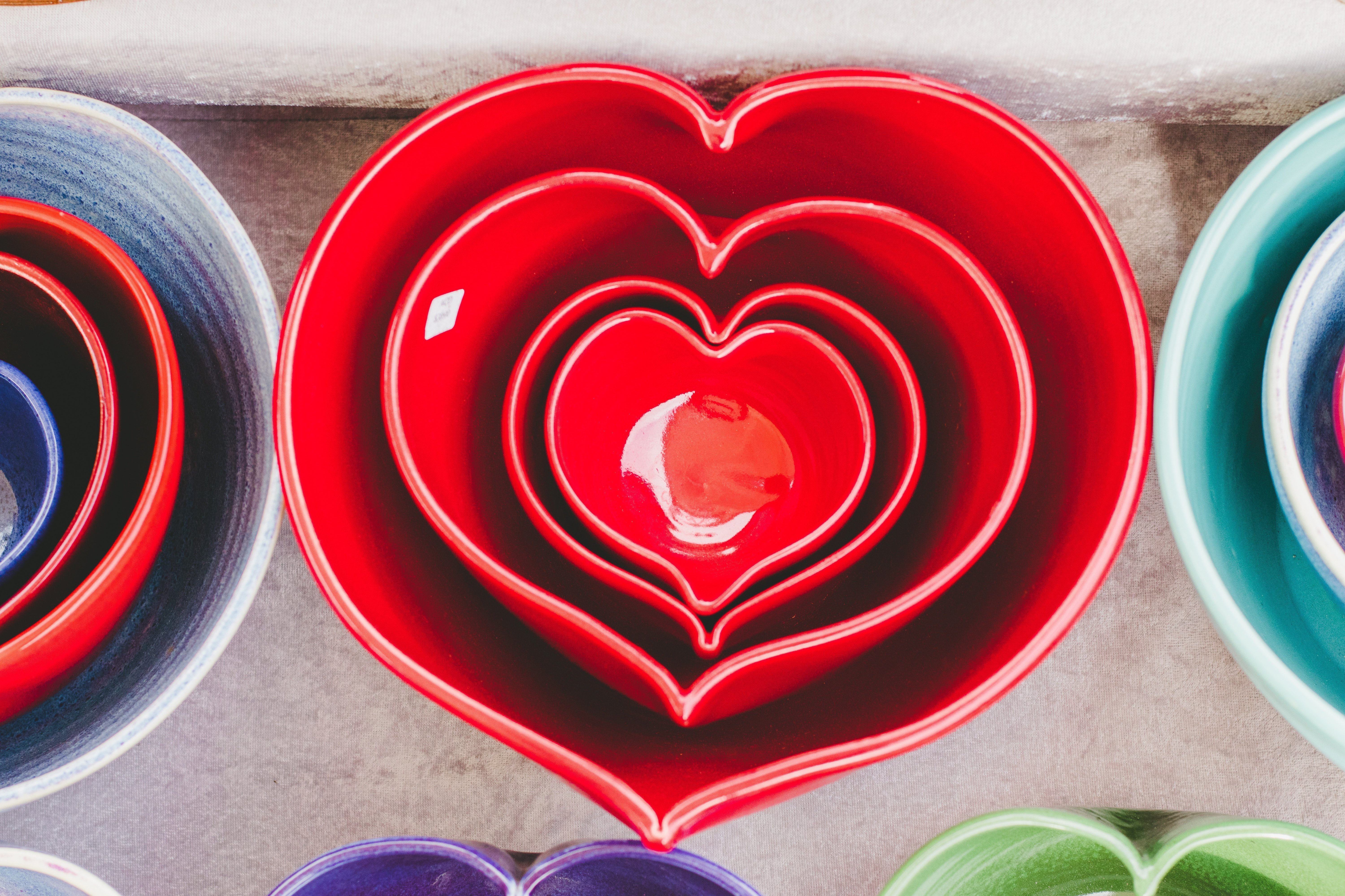 Heart shaped bowls on a dining table