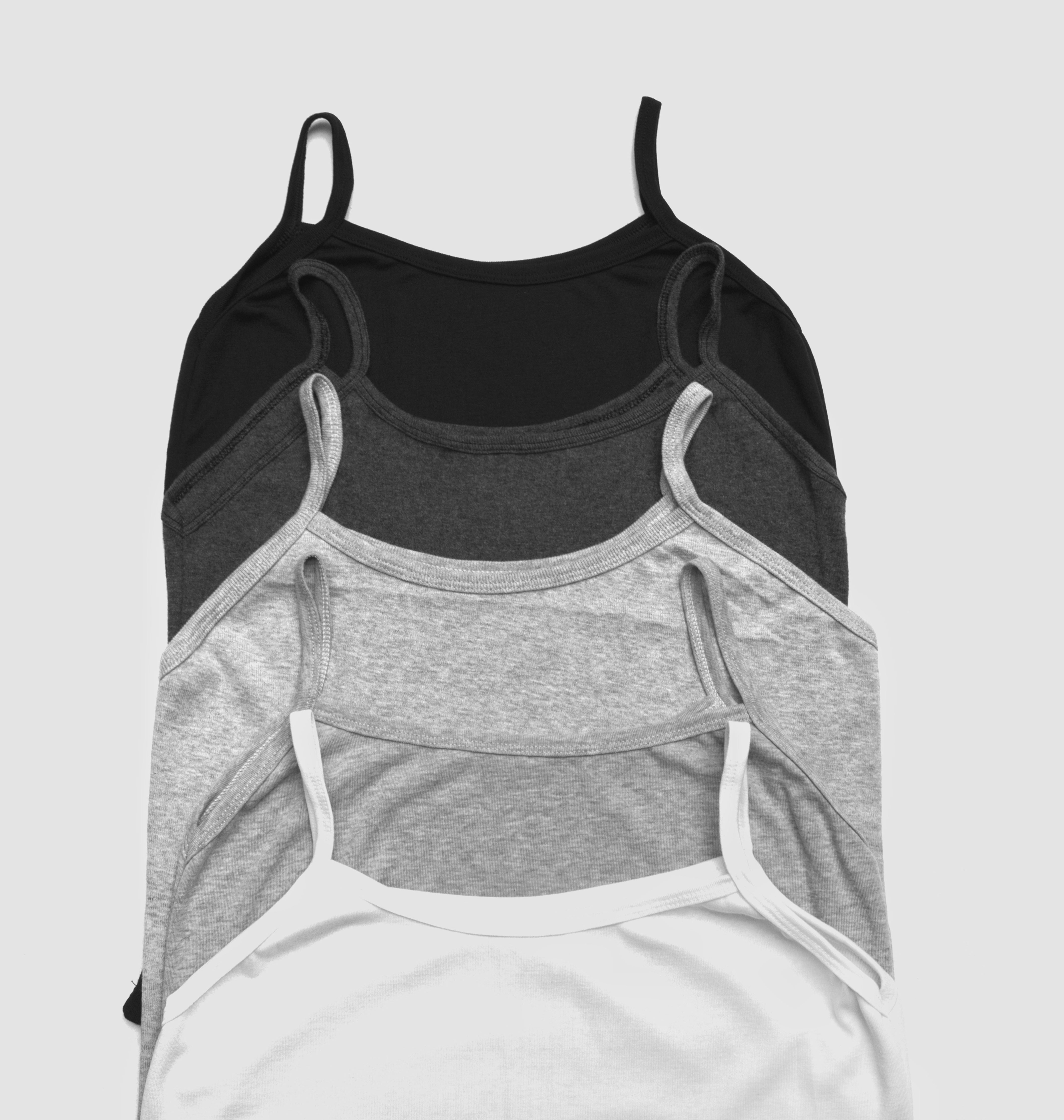 Black, gray and white tank top on white background